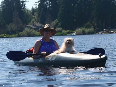 Kayaking with my dog, Chobi