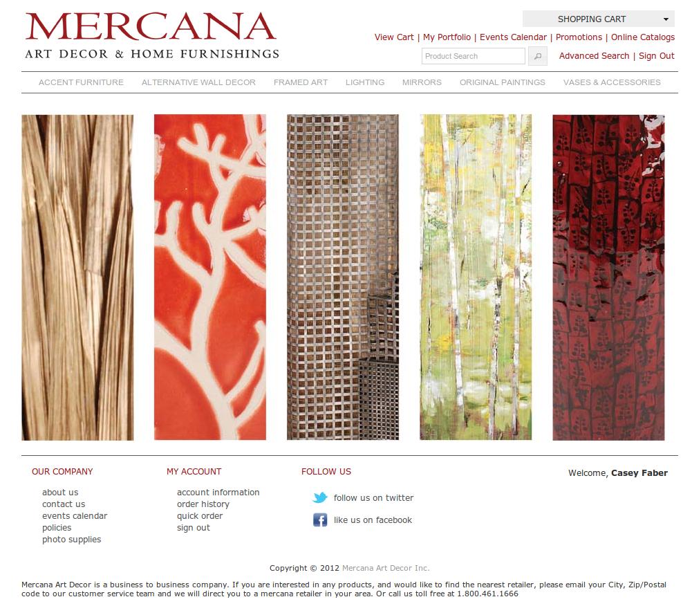 Mercana Art Decor Home Furnishings Casey Faber Seattle Freelance Web Designer Developer